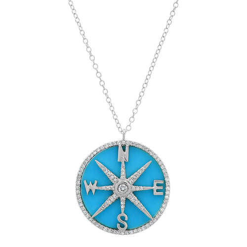 Turquoise and Diamonds Compass Necklace