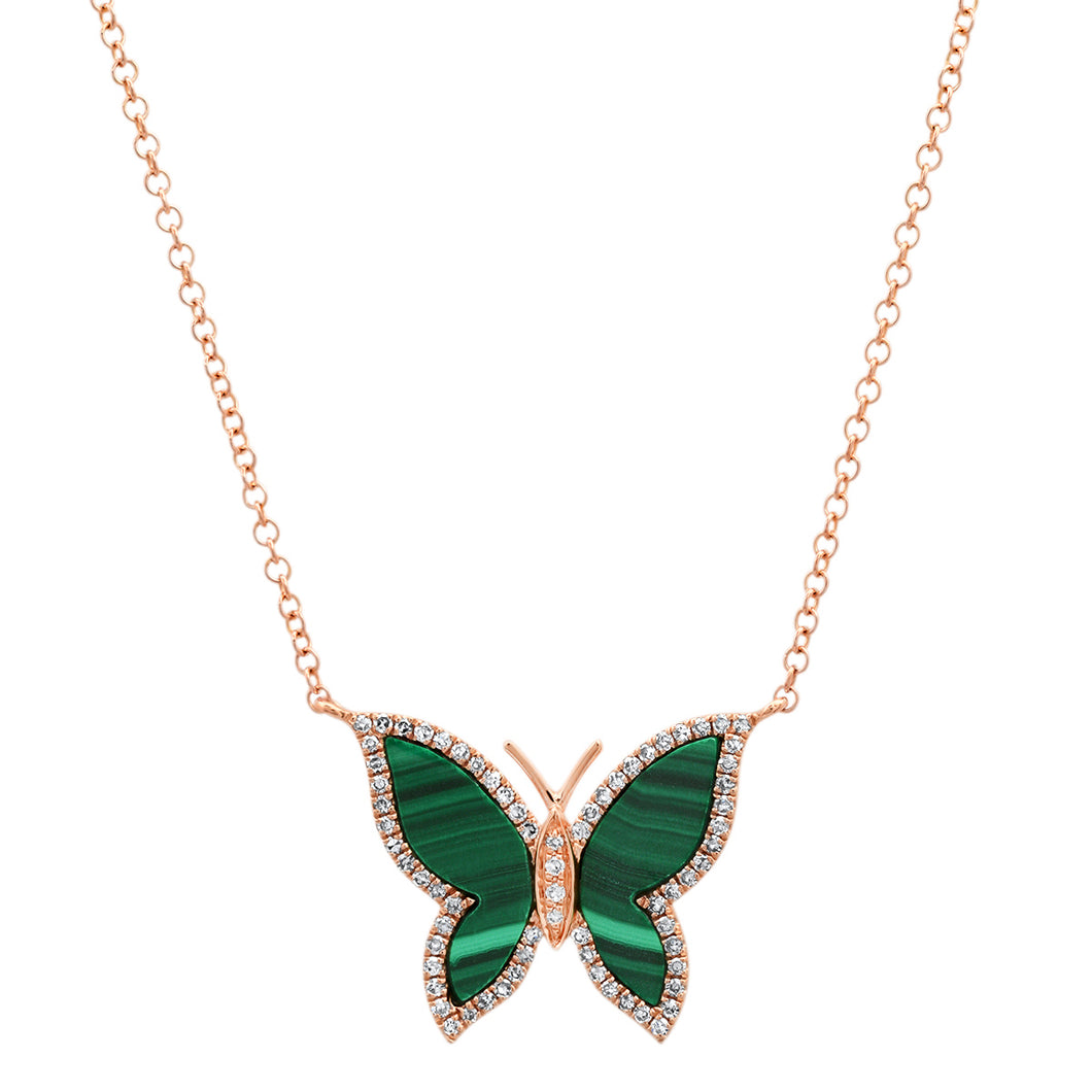Malachite Butterfly with Diamond Frame Necklace
