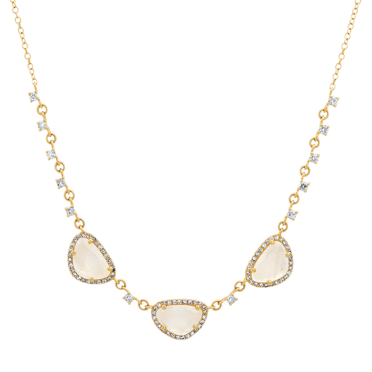 Moonstone Trio with Diamonds Necklace