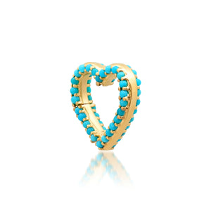Double Sided Turquoise Heart Charm Clip Holder Enhancer