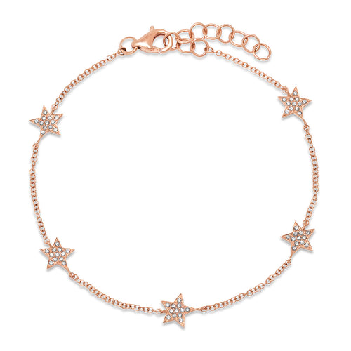 Five Pave Diamond Star Delicate Chain Bracelet