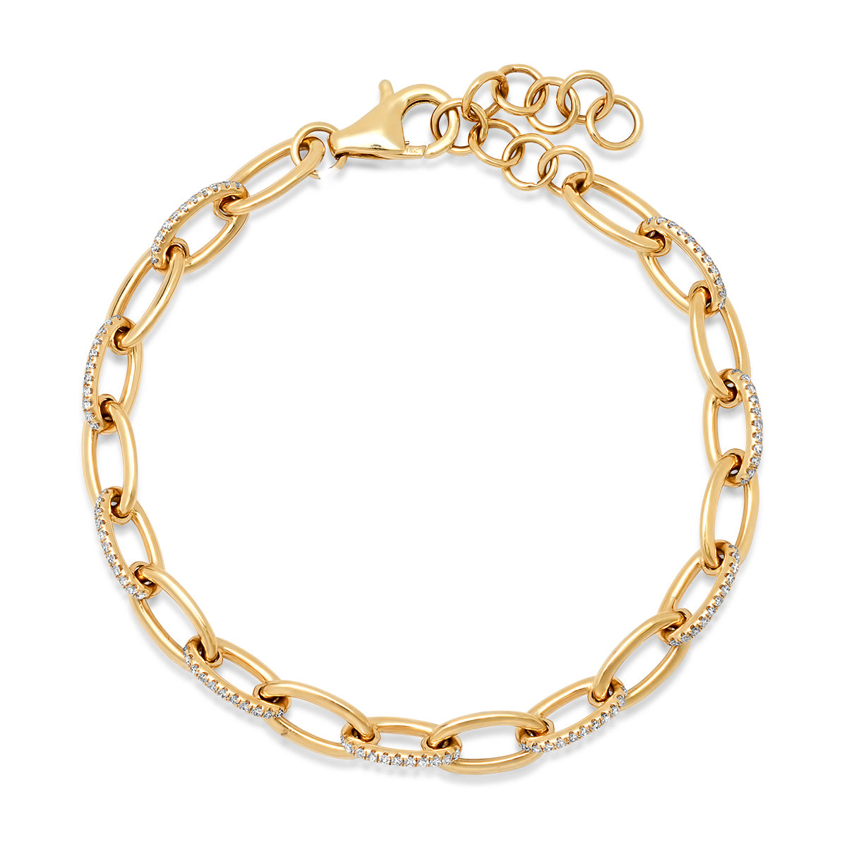 Gold & Diamond Link Chain Bracelet