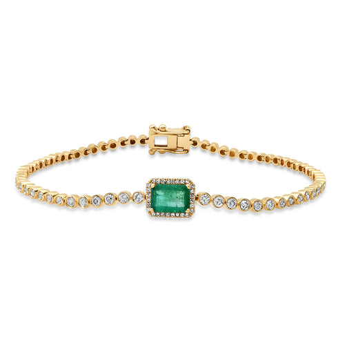 Emerald with Diamond Halo & Diamond Tennis Bracelet