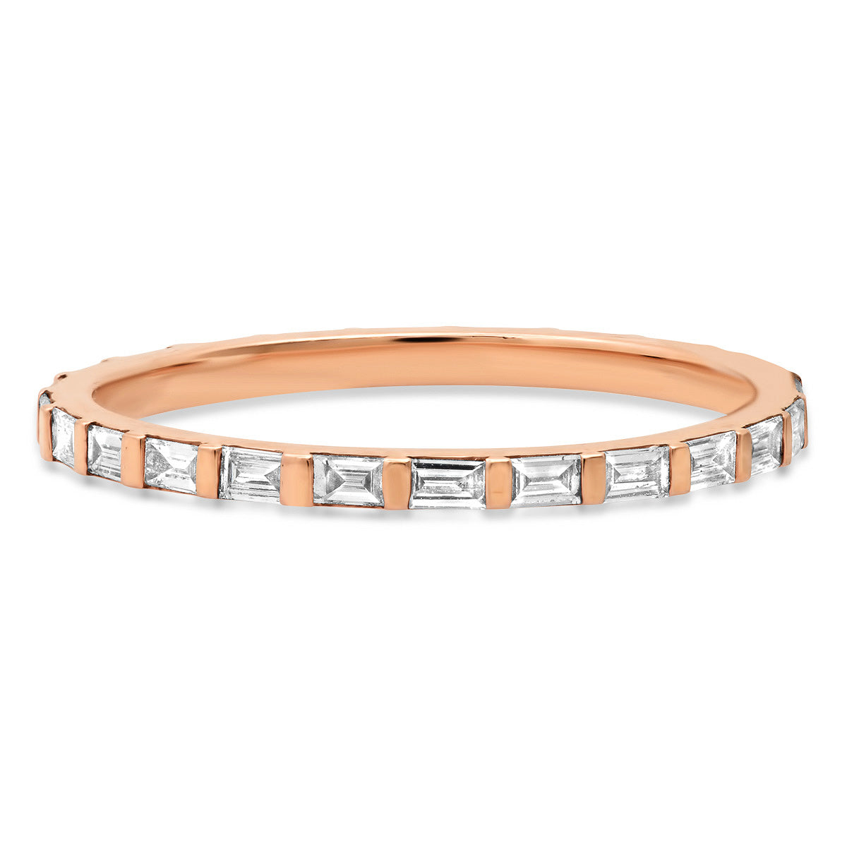 Delicate Diamond Baguette Eternity Stacking Ring