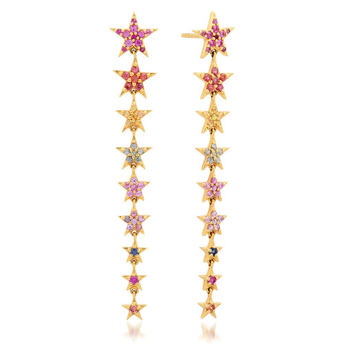 Rainbow Star Long Drop Earrings