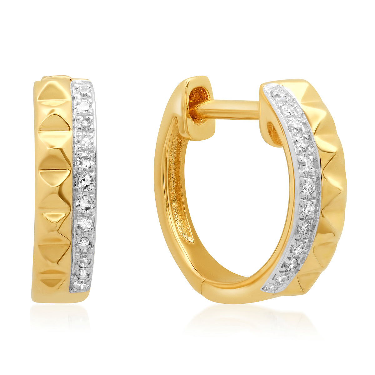 Diamond Spike Duo Huggie Earrings