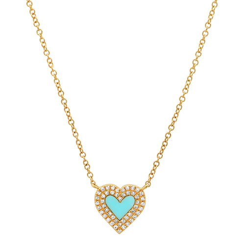 Sweet Turquoise Heart with Double Diamond Frame Necklace
