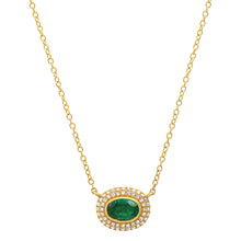 Oval Green Emerald with Pave Diamond Frame Necklace