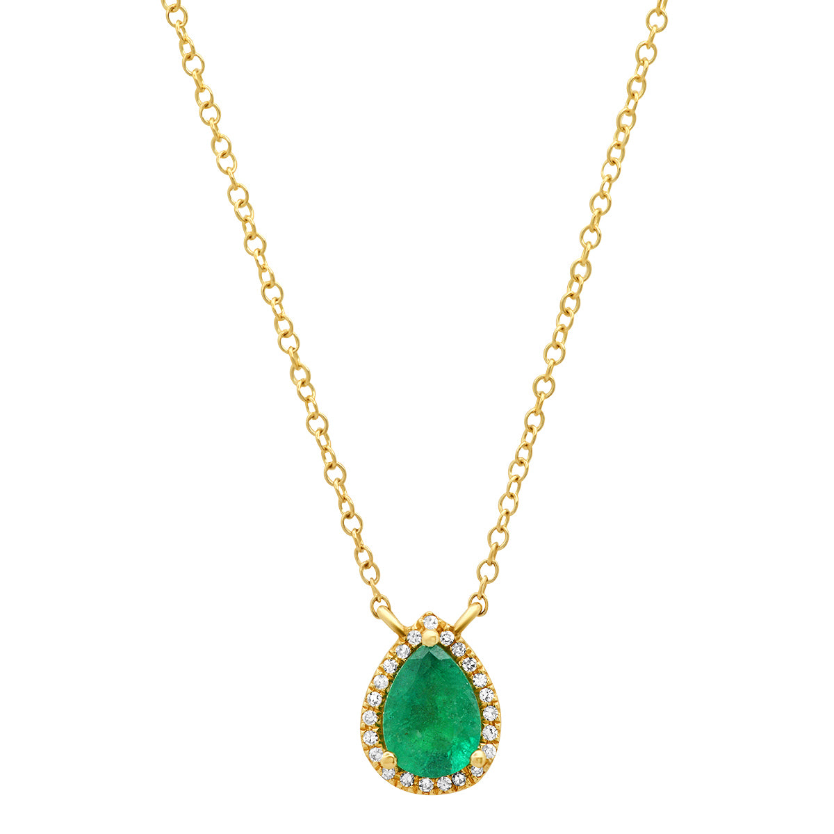 Pear Shape Green Emerald with Pave Diamond Frame Necklace
