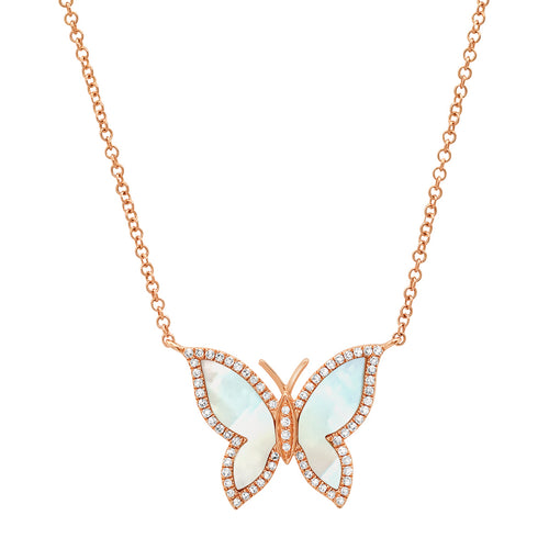 Mother of Pearl Butterfly with Diamond Frame Necklace