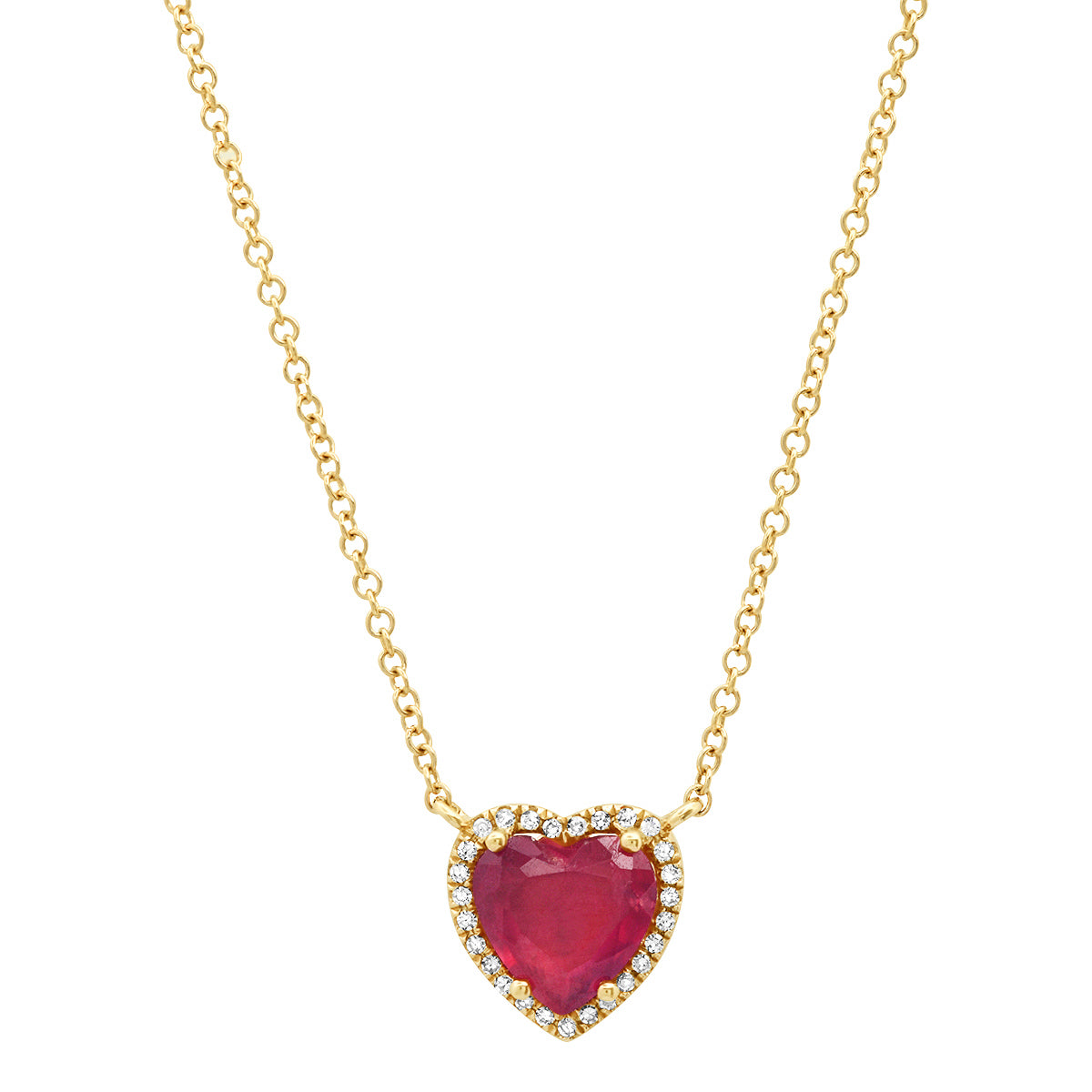 Gemstone Heart with Diamond Halo on Thin Cable Chain Necklace