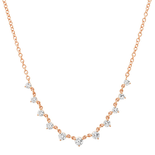 Delicate Graduated Round Shaped Diamonds Necklace