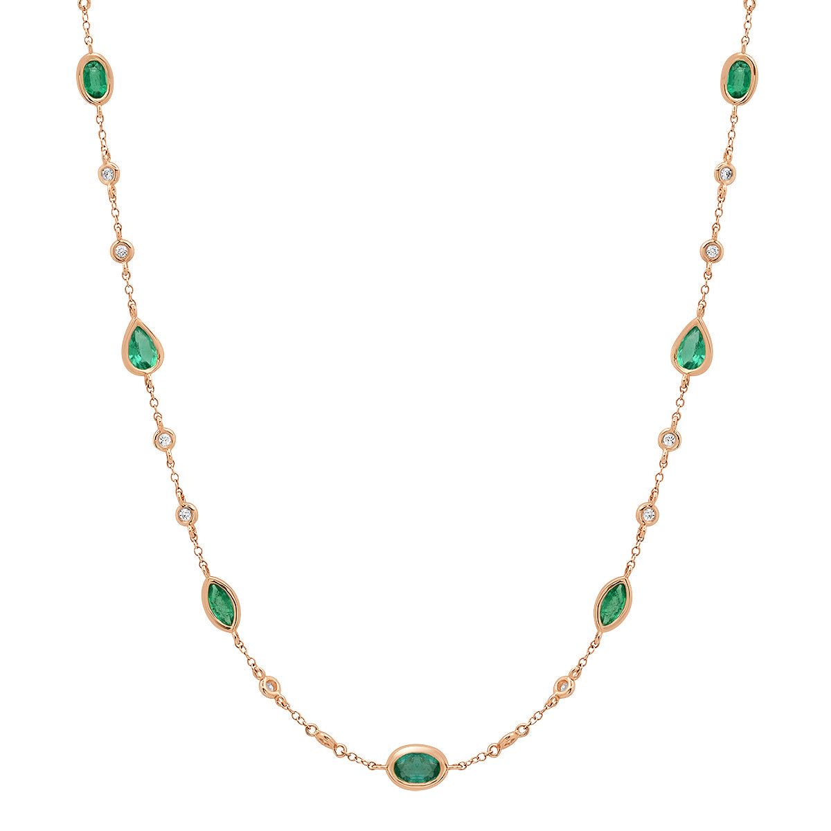 Bezel Set Emerald Shapes & Diamonds by the Yard Necklace