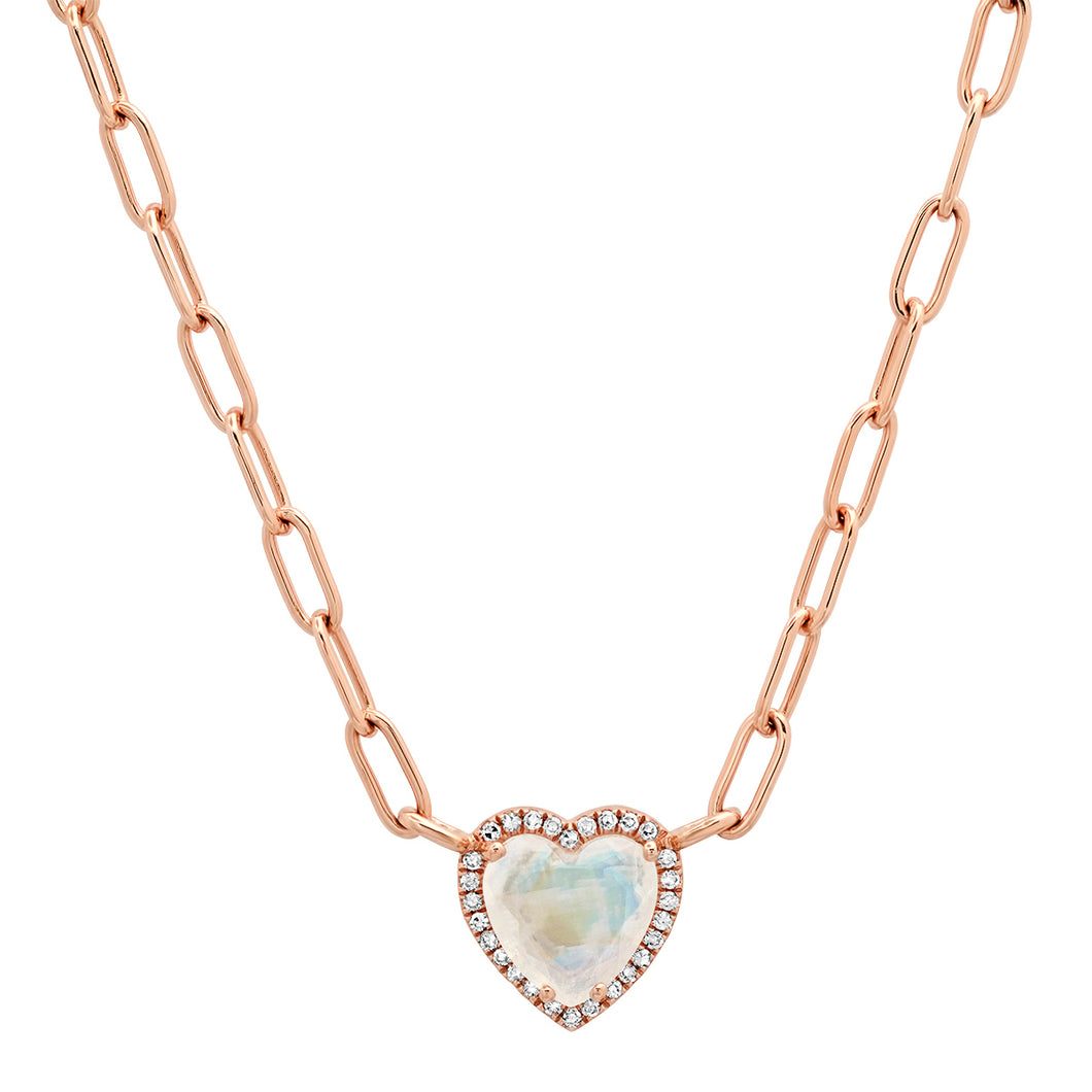 Gemstone Heart with Diamond Halo on Paper Clip Chain