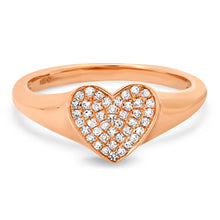 Pave Diamond Sweet Heart Signet Ring