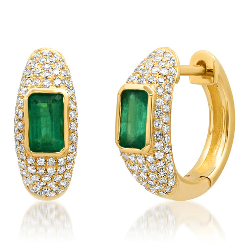 Emerald & Diamond Glam Huggie Earrings