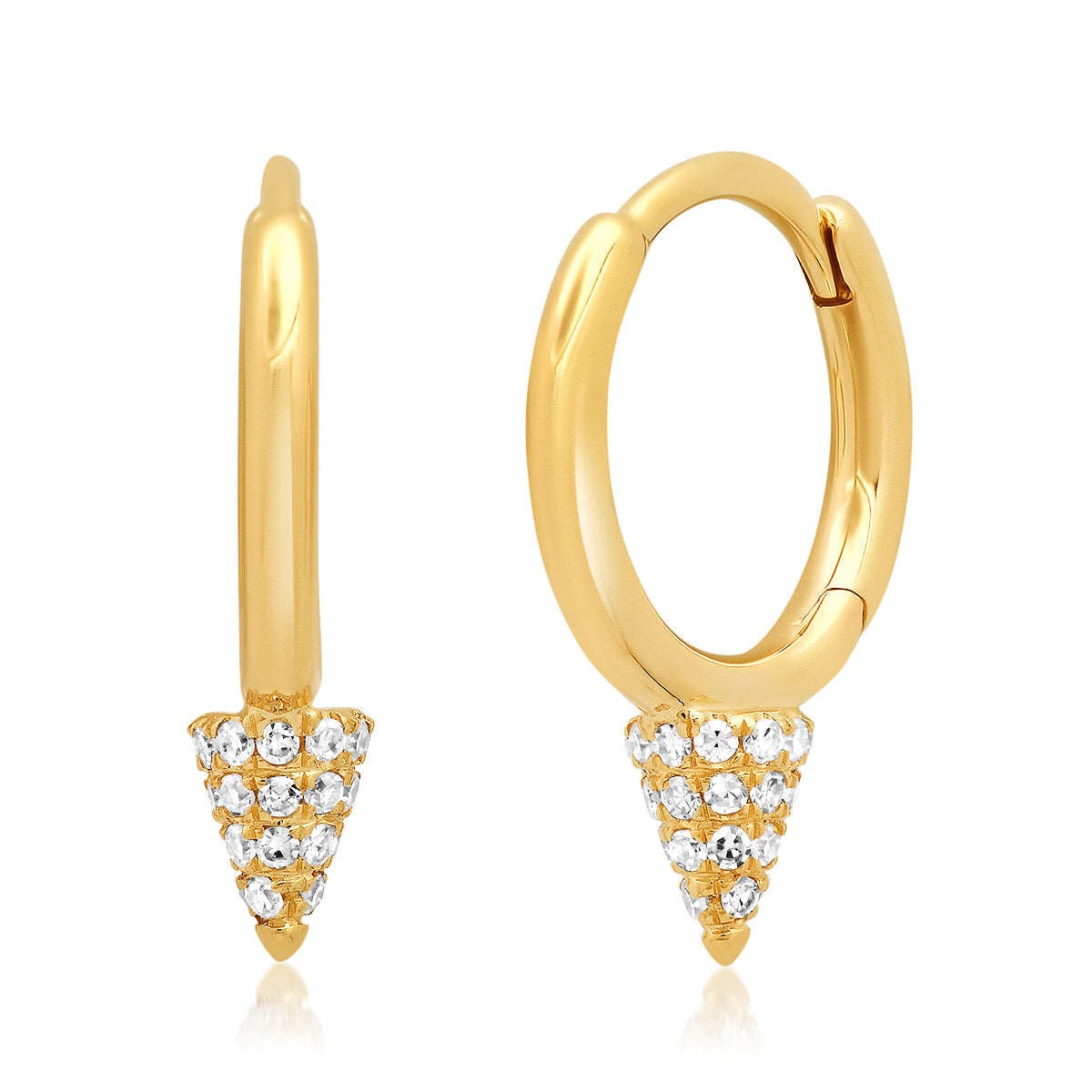 Pave Diamond Mini Spike Huggie Earrings