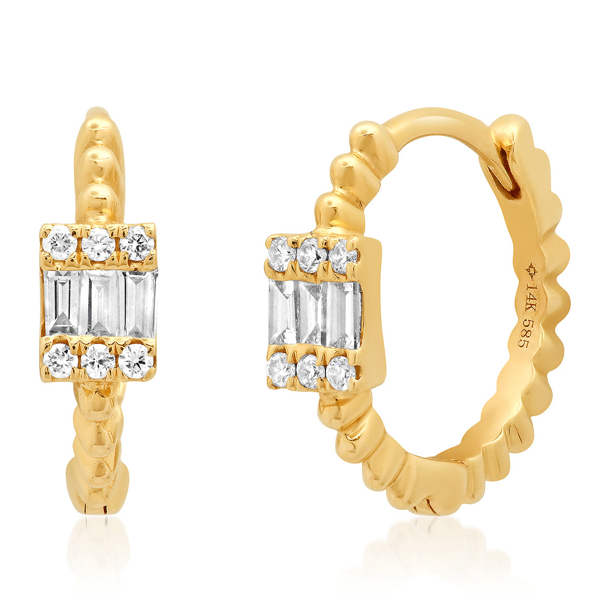 Baguette Diamond Cluster Bead Huggie Earrings
