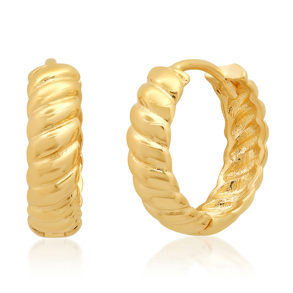 Braided Gold Huggie Earrings