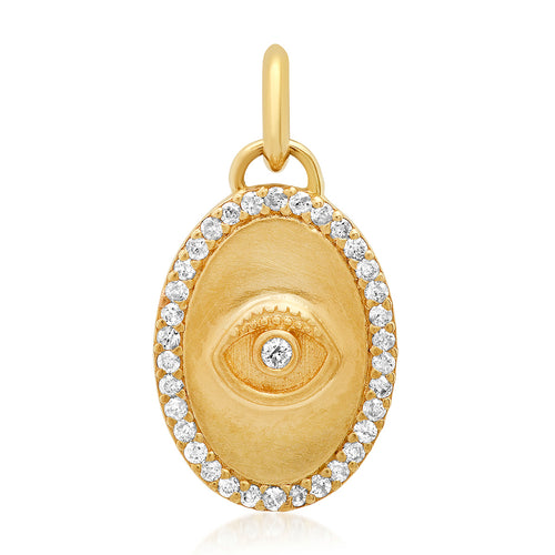 Diamond Mini Oval Evil Eye Protection Charm