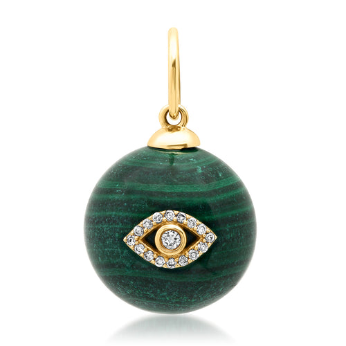 Malachite Sphere with Diamond Eye or Starburst Charm