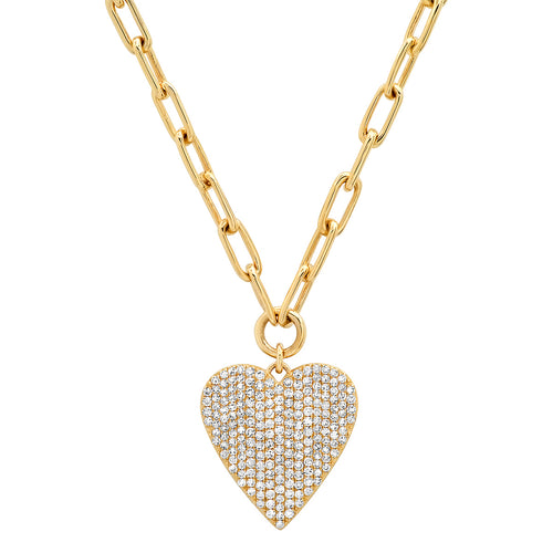 Perfect Pave Diamond Heart on Paperclip Chain Necklace