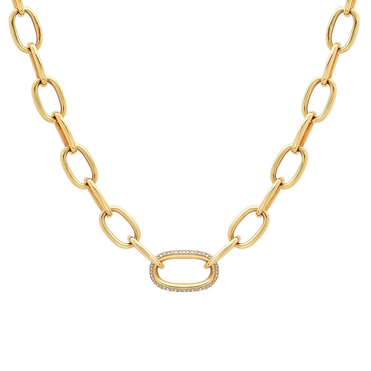 Heavy Oval Link Chain with Pave Diamond Center Link