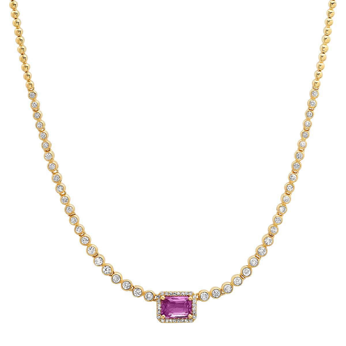 Pink Sapphire and Bezel Set Diamond Principessa Necklace