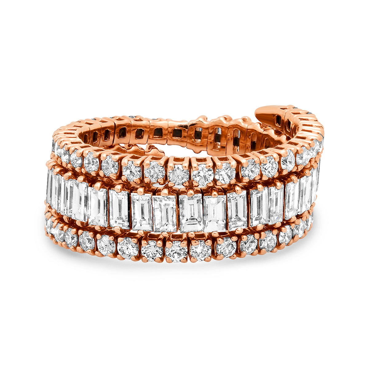 Round and Baguette Cut Diamond Memory Coil Ring