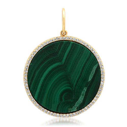 Malachite Coin with Diamond Frame CharmMalachite Coin with Diamond Frame Charm