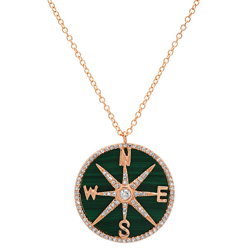 Malachite and Diamonds Compass Necklace
