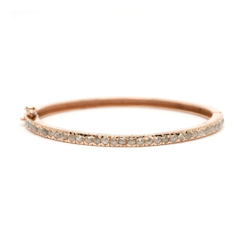 Thin Stacking Rosecut Diamond Bangle