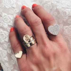 Diamond  Heart Signet Ring