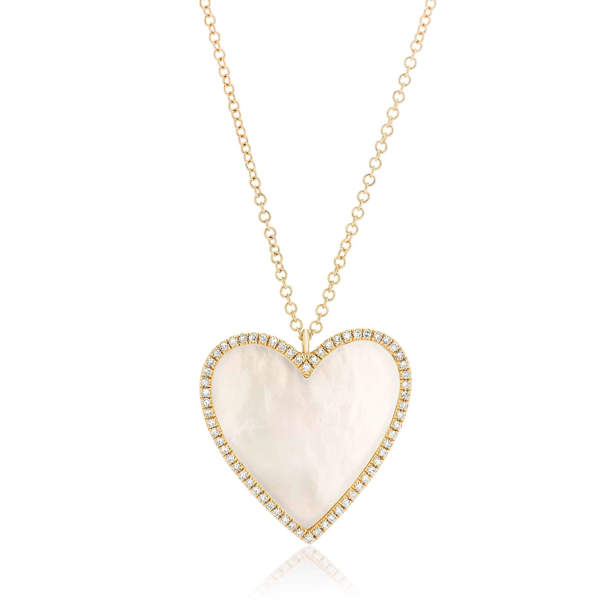 Mother of Pearl Large Heart with Diamond Frame Necklace