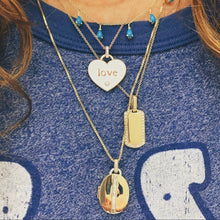 Enamel Mantra Word Heart Necklace