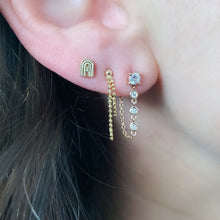 Single Diamond Stone Stud with Diamond Chain Wrap Stud Earring