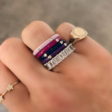 5 Diamond Enamel Stack Ring