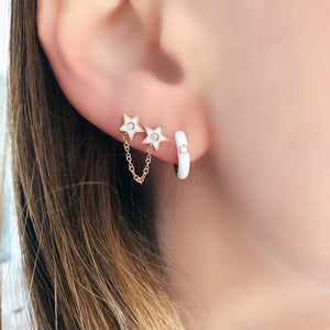 Diamond Enamel Huggie Earrings