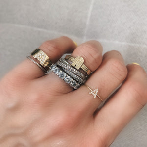 Pave Diamond Letter Signet Ring