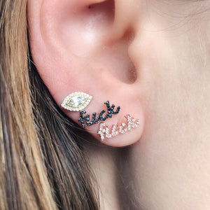 Cursive Diamond Fuck Single Stud Earring