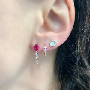Pear Shape Ruby Stud with Diamond Wrapped Chain