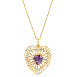 The Ashleigh Bergman Collective x Nina Segal Caged Amethyst Heart Necklace