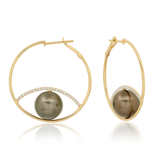 The Ashleigh Bergman Collective x Samira 13 Diamond & Pearl Evil Eye Hoops