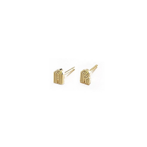 Single Mini Radiant Initial Stud Earring