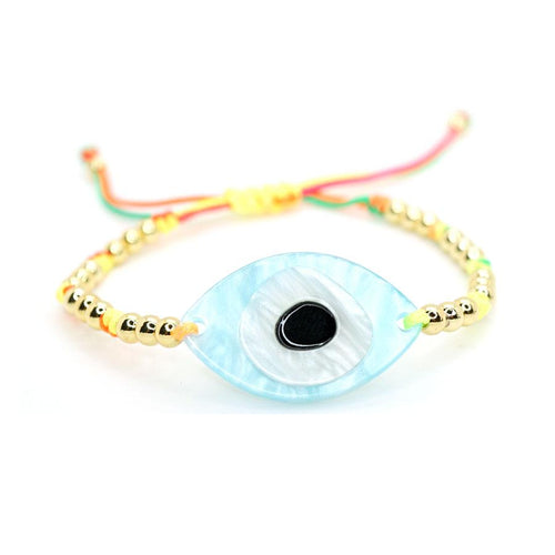 Mother of Pearl Evil Eye On Gold Filled Beads & Rainbow Thread Bracelet