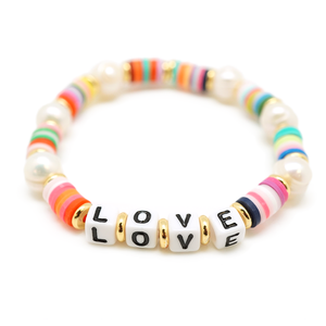 multi color beaded stretch love & pearl bracelet