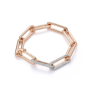 Elongated Chain Links with Double Diamond Links Bracelet