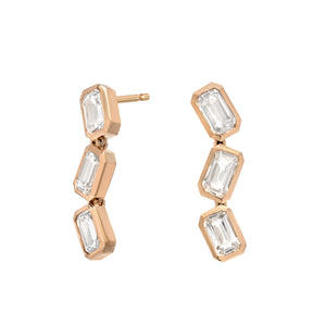 White Sapphire Brick Stack Earrings