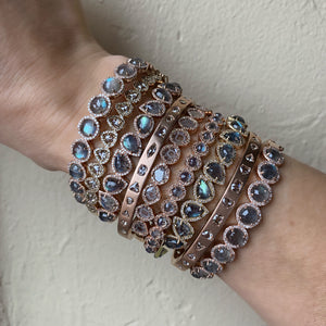 Petite Round Labradorite With Diamond Cuff Bangle Bracelet