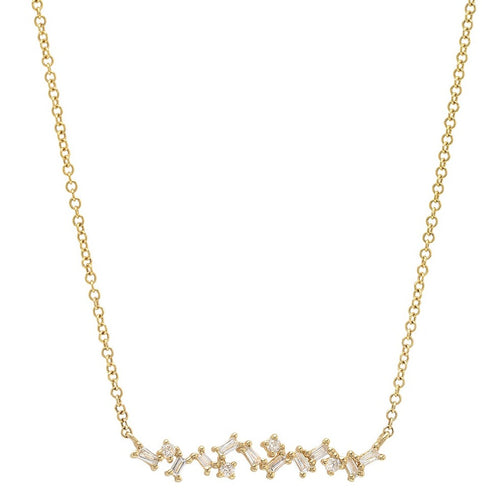 Scattered Diamond Baguette Bar Necklace